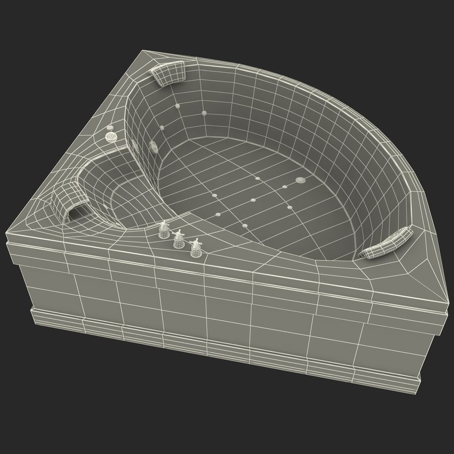 Corner Jacuzzi Bath royalty-free 3d model - Preview no. 23