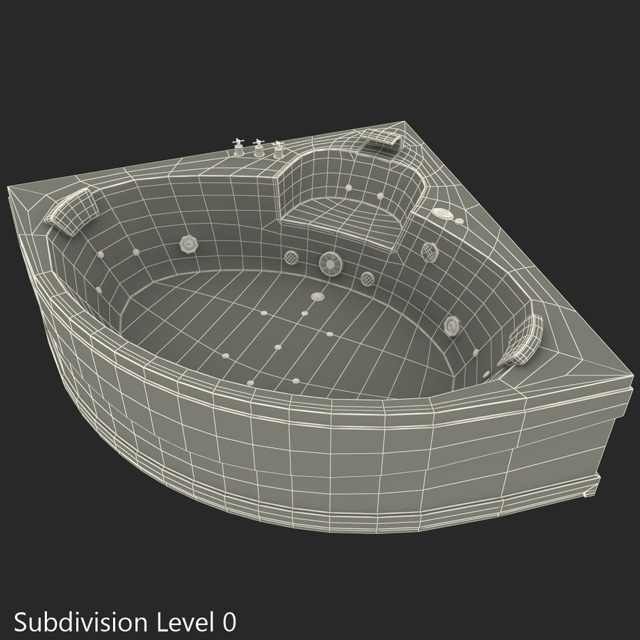 Corner Jacuzzi Bath royalty-free 3d model - Preview no. 34