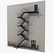 Fire Escape Stairs 3d model