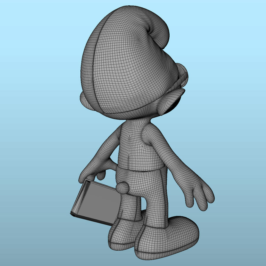 Smurf Brainy royalty-free 3d model - Preview no. 8