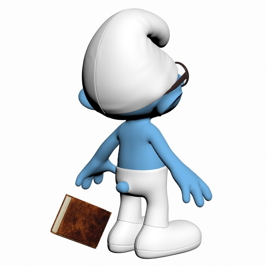 Smurf Brainy royalty-free 3d model - Preview no. 4