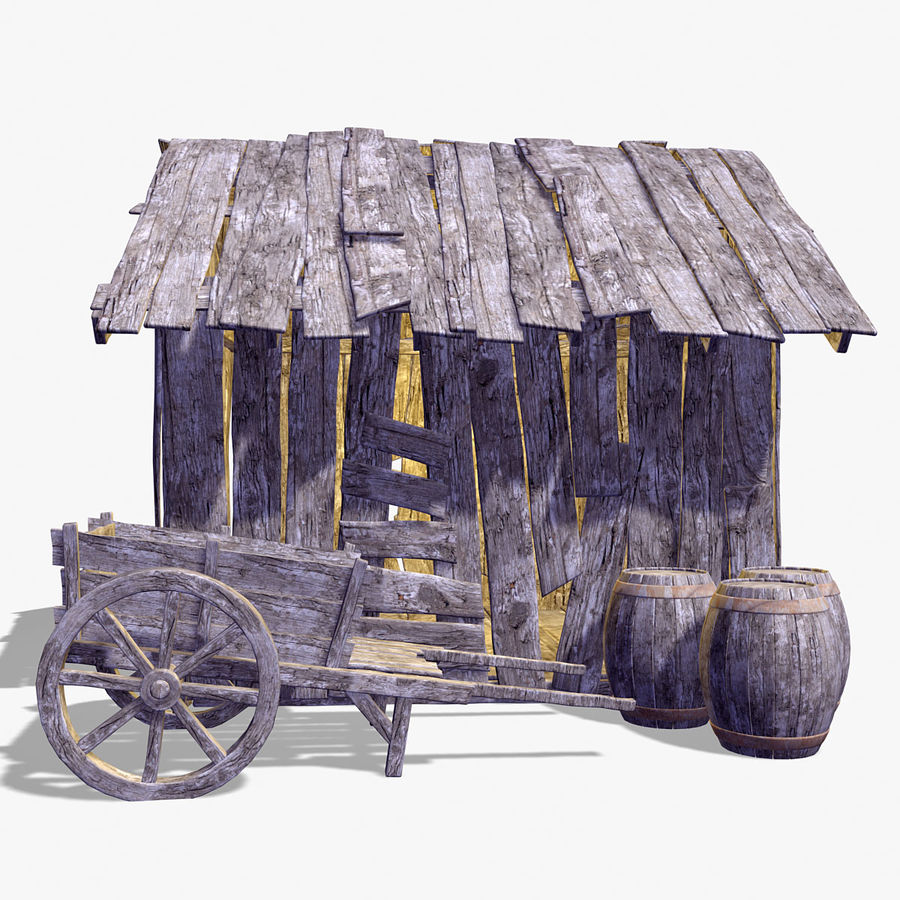 Old Wooden Hut royalty-free 3d model - Preview no. 4