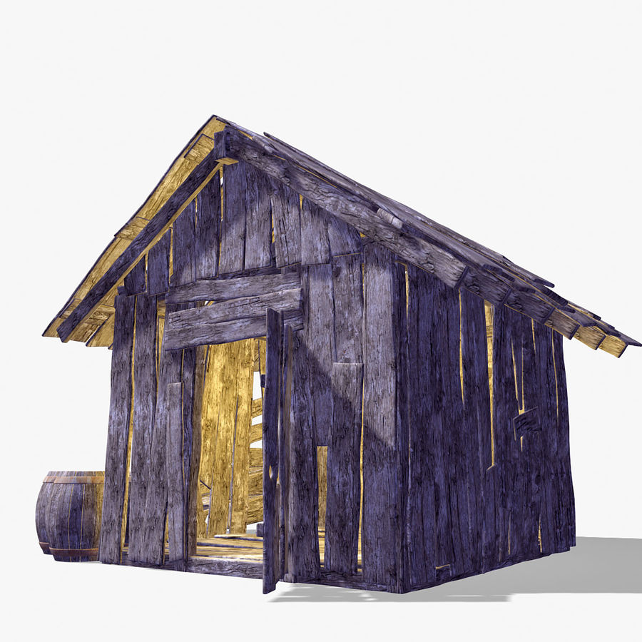 Old Wooden Hut royalty-free 3d model - Preview no. 7