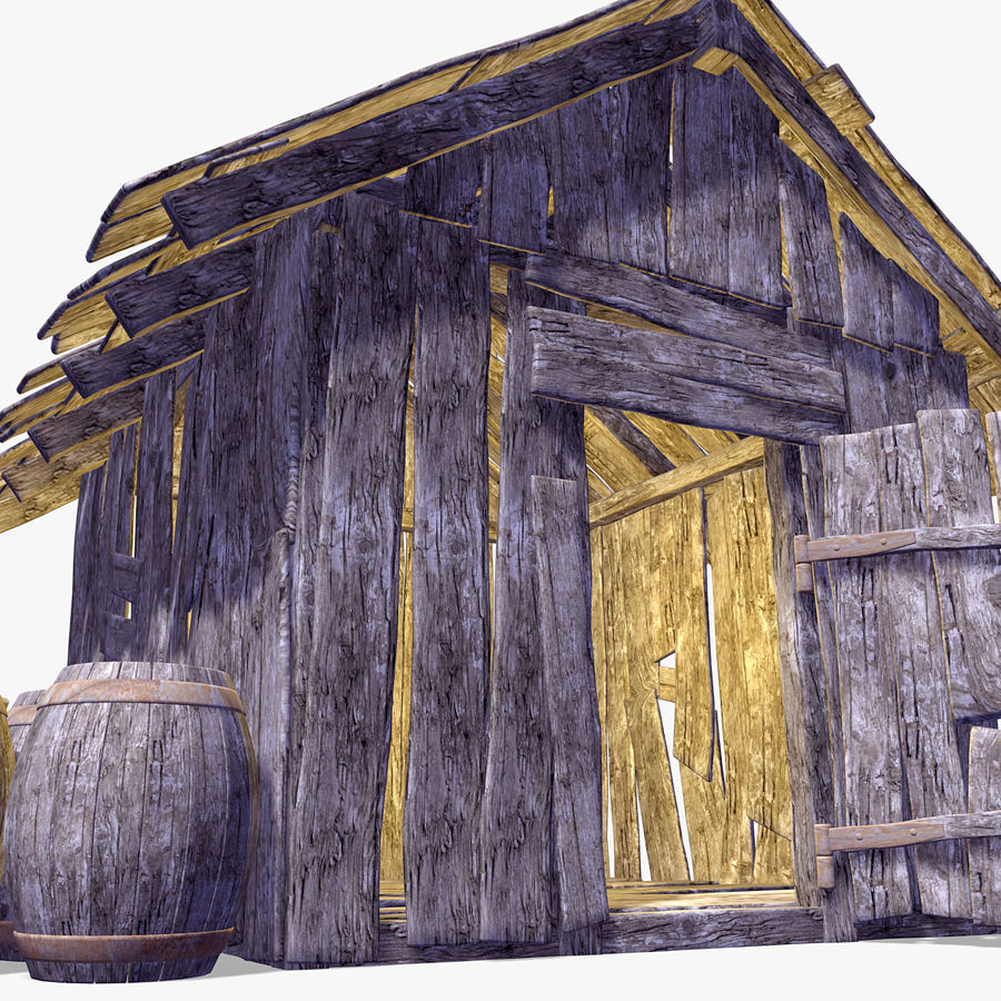 Old Wooden Hut royalty-free 3d model - Preview no. 6