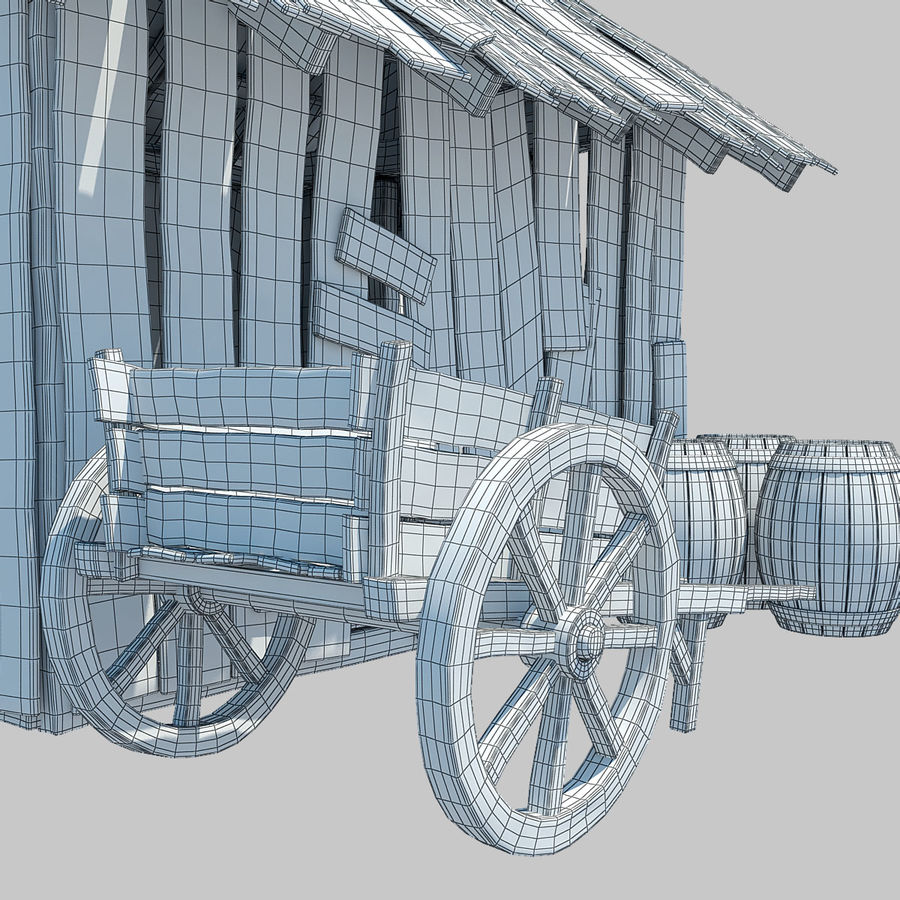 Old Wooden Hut royalty-free 3d model - Preview no. 9