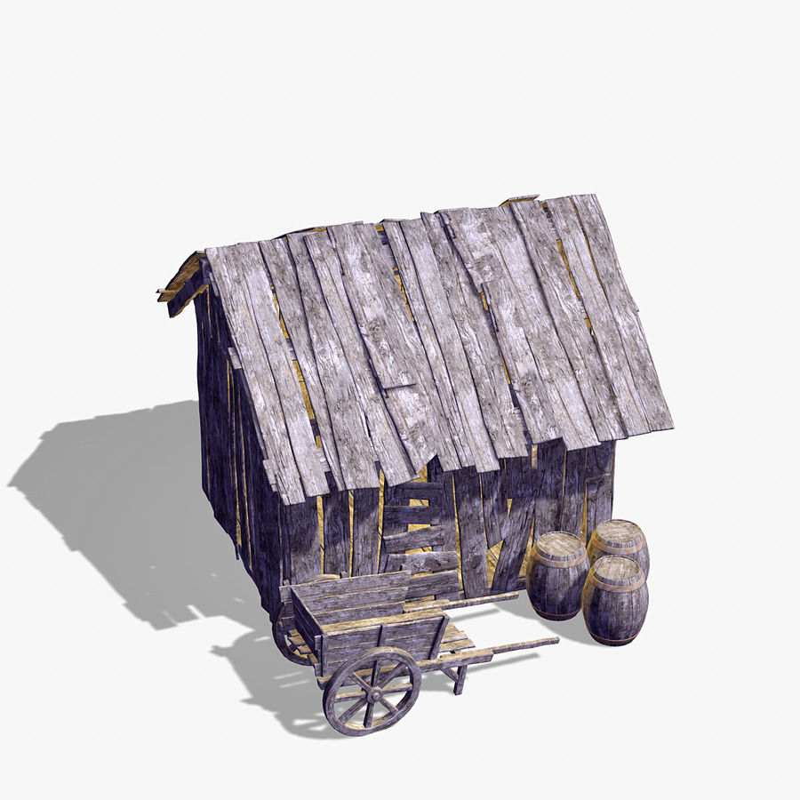 Old Wooden Hut royalty-free 3d model - Preview no. 5