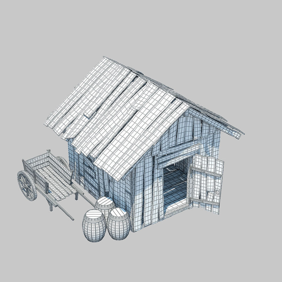 Old Wooden Hut royalty-free 3d model - Preview no. 8