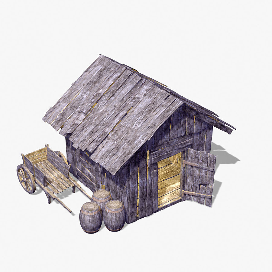 Old Wooden Hut royalty-free 3d model - Preview no. 2