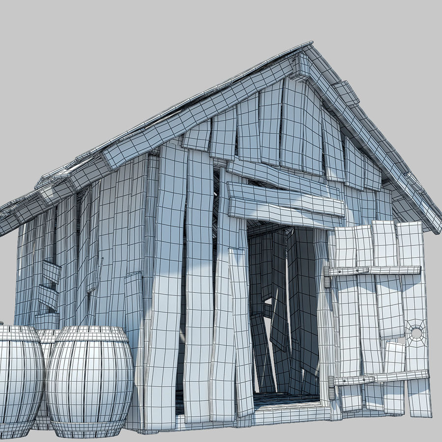Old Wooden Hut royalty-free 3d model - Preview no. 10