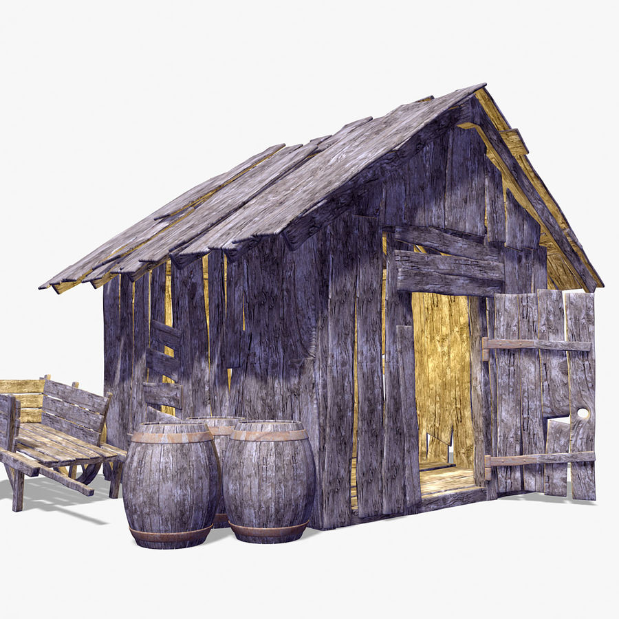 Old Wooden Hut royalty-free 3d model - Preview no. 3