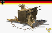 flakvierling anti-aircraft 3d model