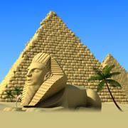 Cartoon Pyramids / Sphinx 3d model