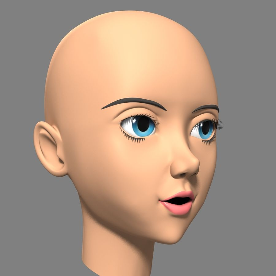 Anime Female Head royalty-free 3d model - Preview no. 7