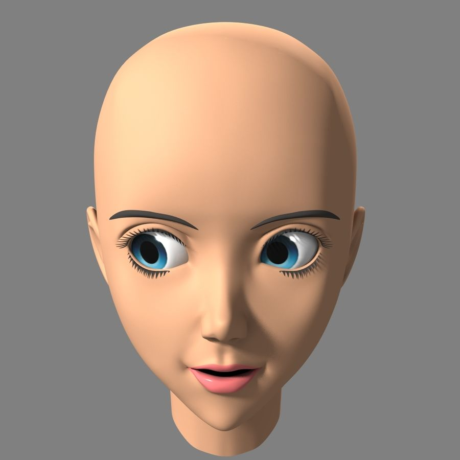 Anime Female Head royalty-free 3d model - Preview no. 6