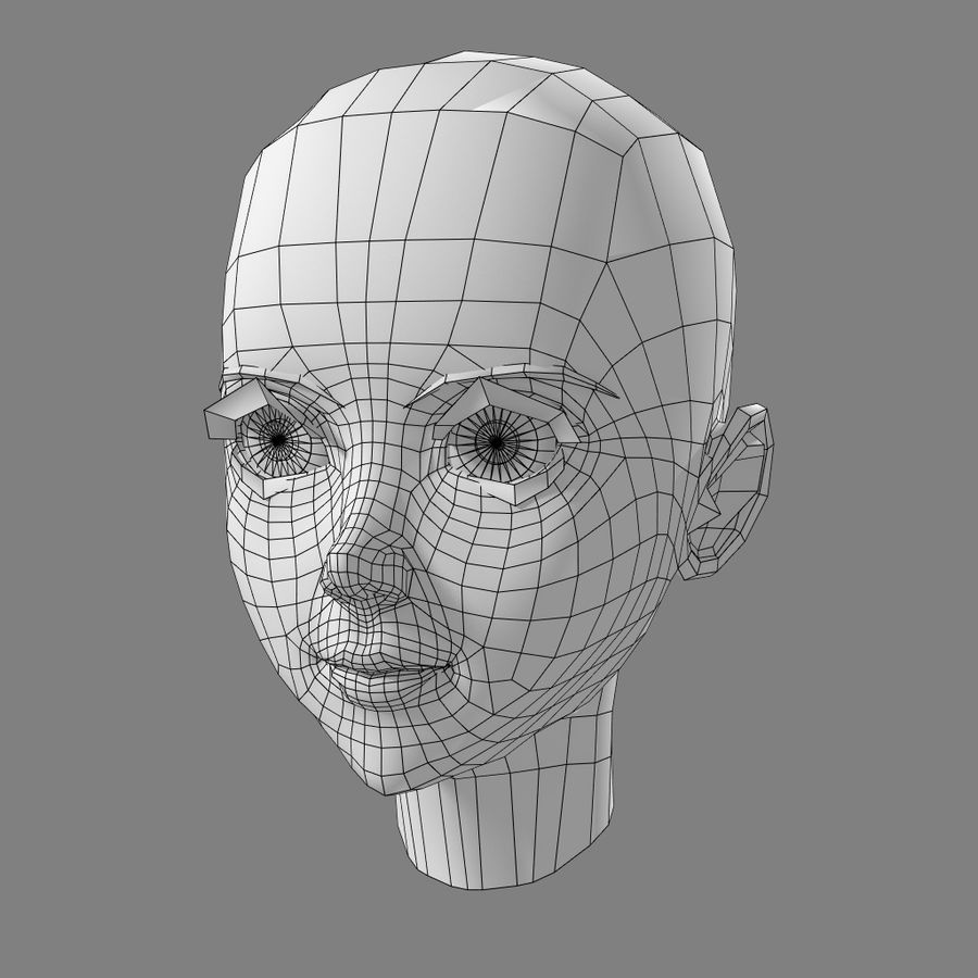 Anime Female Head royalty-free 3d model - Preview no. 8