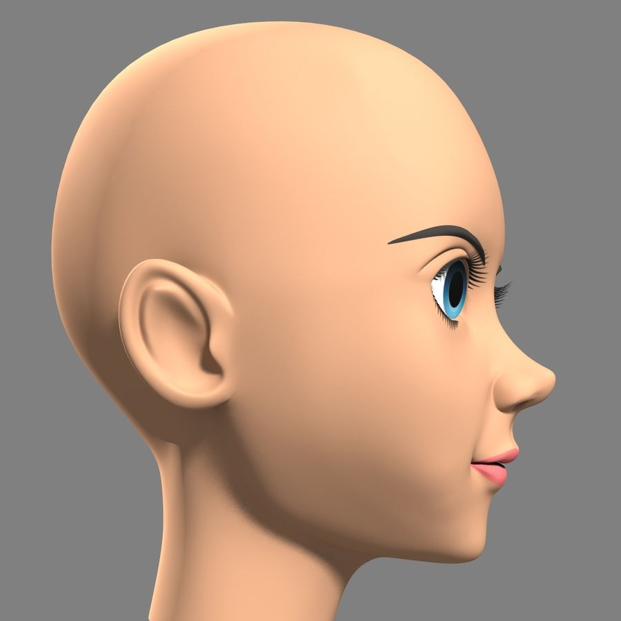 Anime Female Head royalty-free 3d model - Preview no. 2