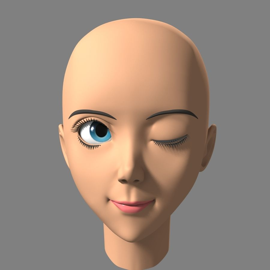 Anime Female Head royalty-free 3d model - Preview no. 5
