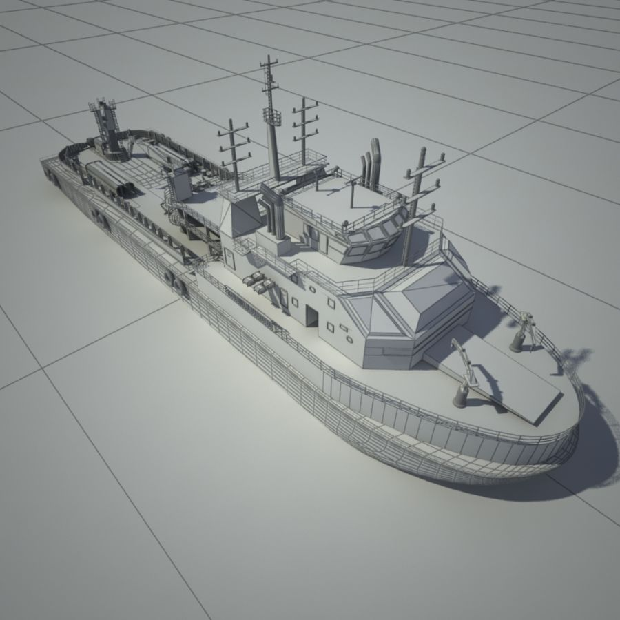 锚式拖船供应AHTS royalty-free 3d model - Preview no. 2