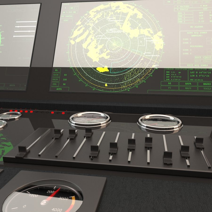 Yacht Control Panel royalty-free 3d model - Preview no. 8