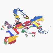 Mapa UE i Ukraina 3d model