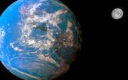 Realistische aarde, maan en zon 3d model