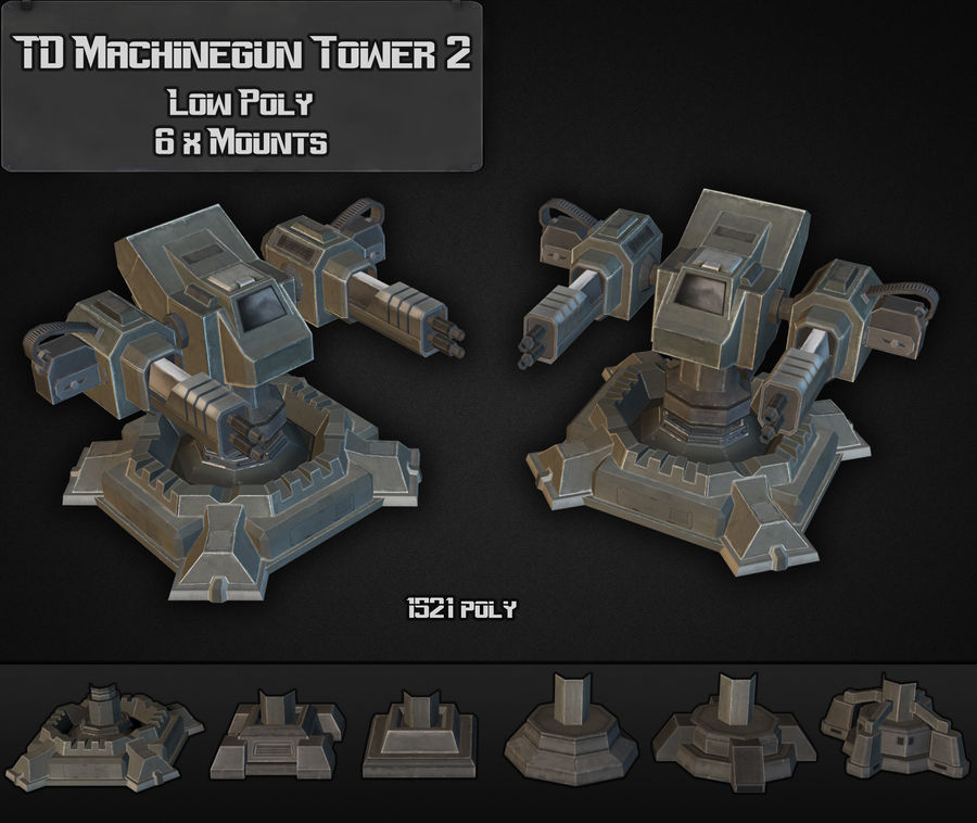 Torre de ametralladoras TD 02 royalty-free modelo 3d - Preview no. 1