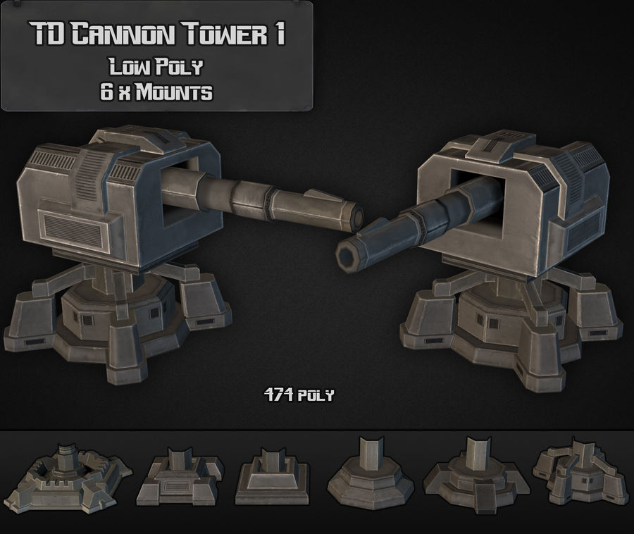 Torre TD Cannon 01 royalty-free modelo 3d - Preview no. 6