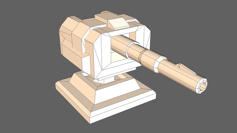 Torre TD Cannon 01 royalty-free modelo 3d - Preview no. 9
