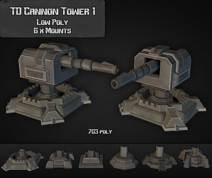 Torre TD Cannon 01 royalty-free modelo 3d - Preview no. 1
