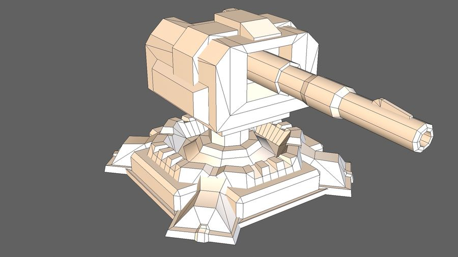 Torre TD Cannon 01 royalty-free modelo 3d - Preview no. 7