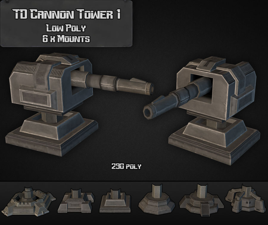 Torre TD Cannon 01 royalty-free modelo 3d - Preview no. 3