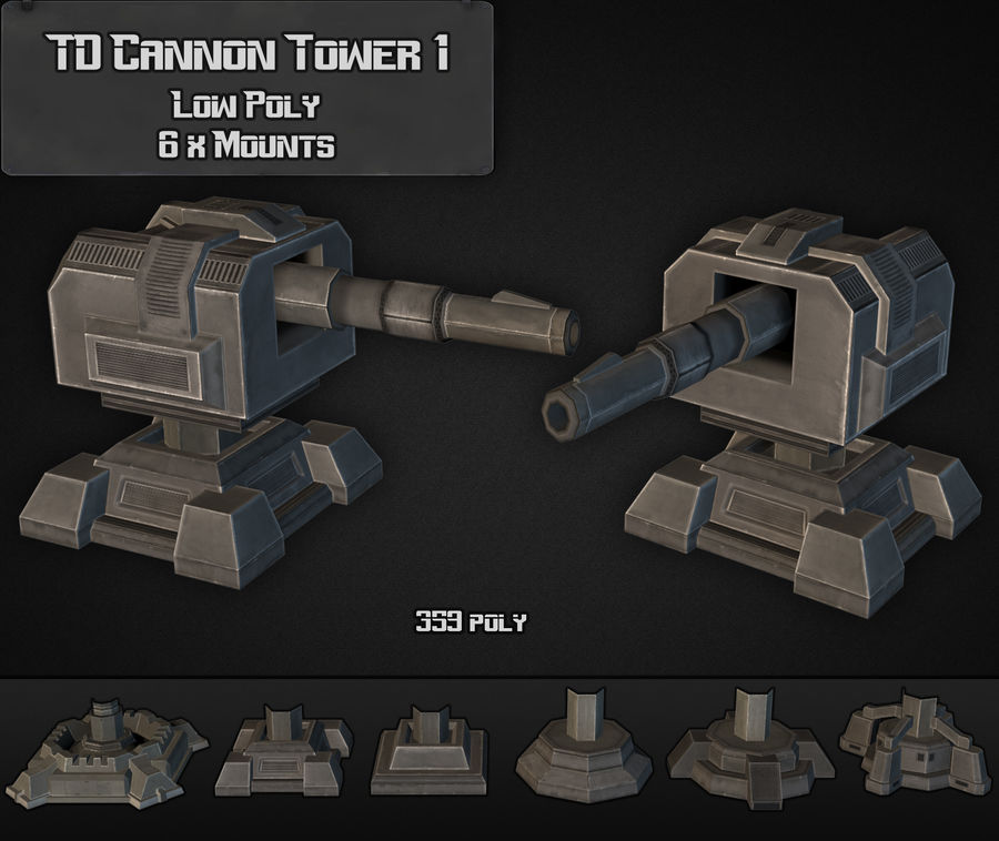 Torre TD Cannon 01 royalty-free modelo 3d - Preview no. 2
