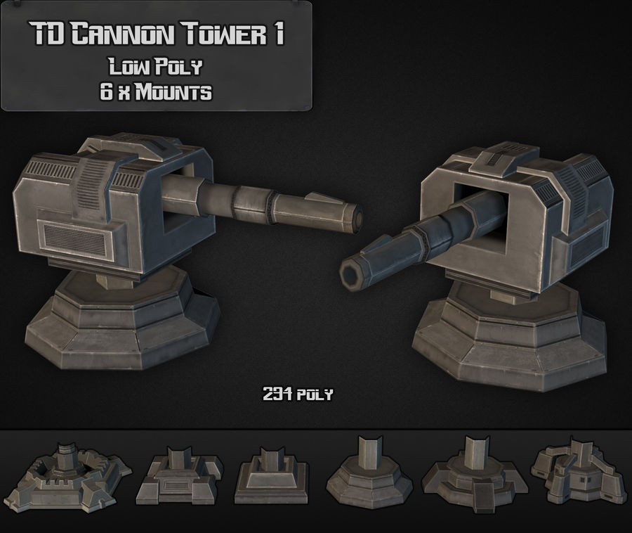 Torre TD Cannon 01 royalty-free modelo 3d - Preview no. 4