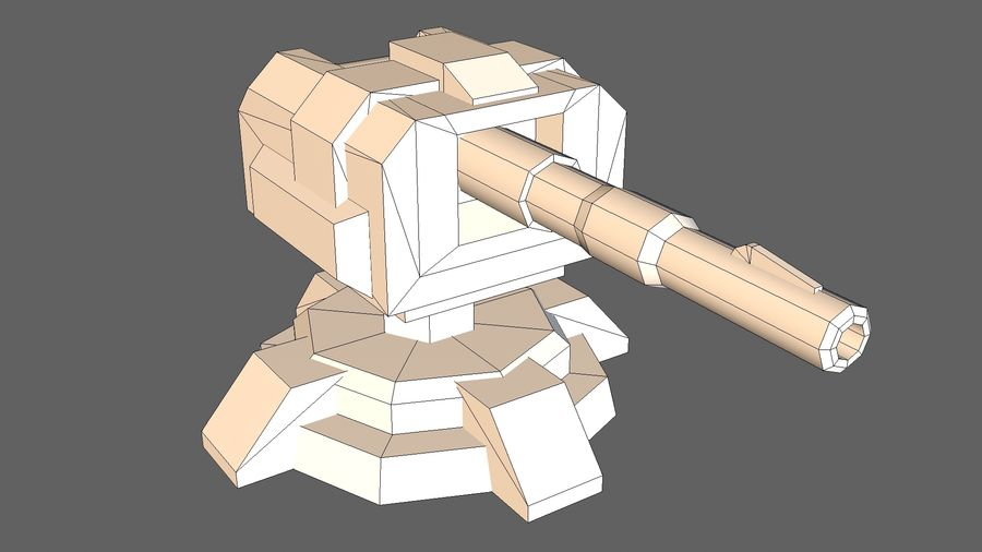 Torre TD Cannon 01 royalty-free modelo 3d - Preview no. 11