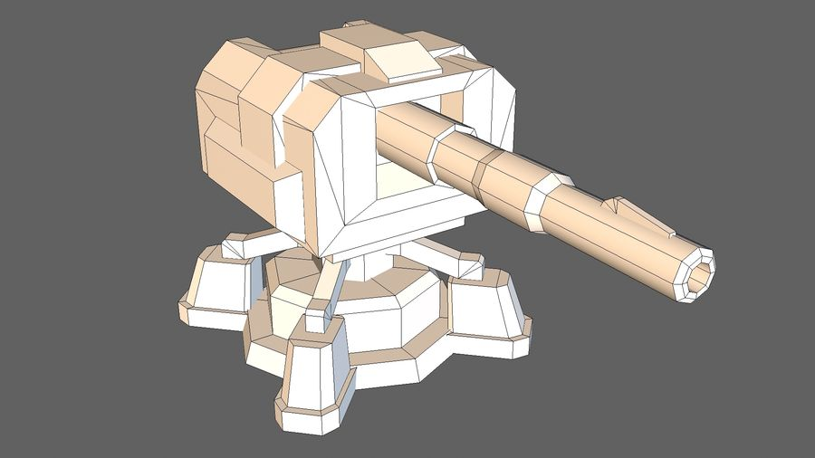 Torre TD Cannon 01 royalty-free modelo 3d - Preview no. 12