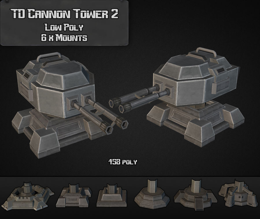 TD Cannon Tower 02 royalty-free modelo 3d - Preview no. 2