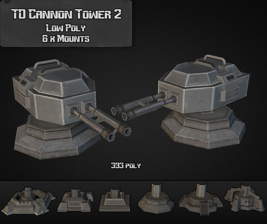 TD Cannon Tower 02 royalty-free modelo 3d - Preview no. 4