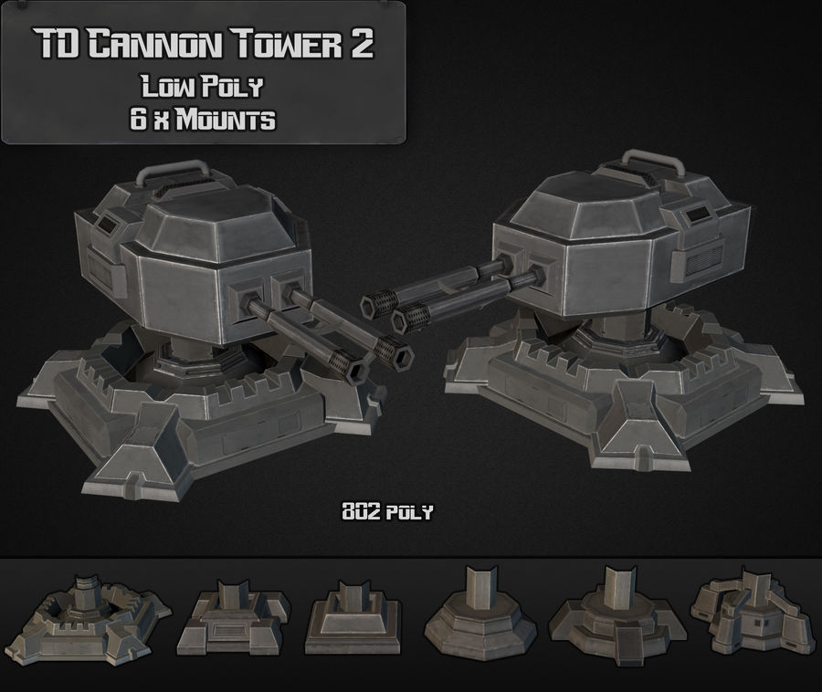 TD Cannon Tower 02 royalty-free modelo 3d - Preview no. 1