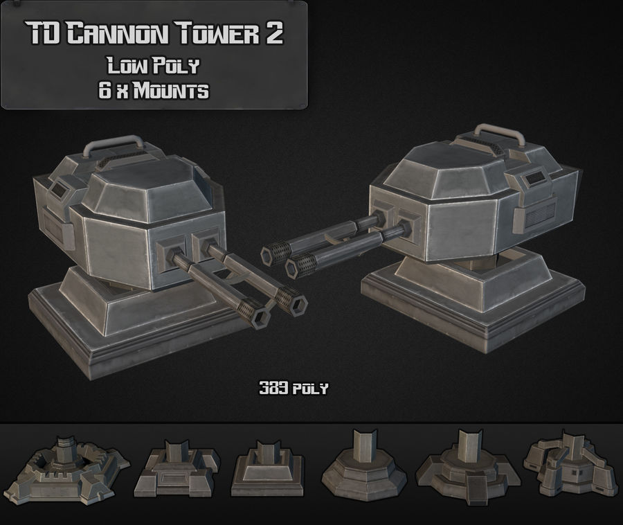TD Cannon Tower 02 royalty-free modelo 3d - Preview no. 3