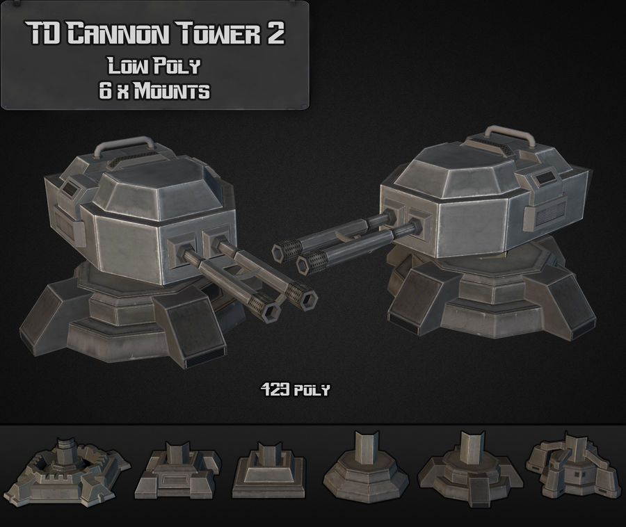 TD Cannon Tower 02 royalty-free modelo 3d - Preview no. 5