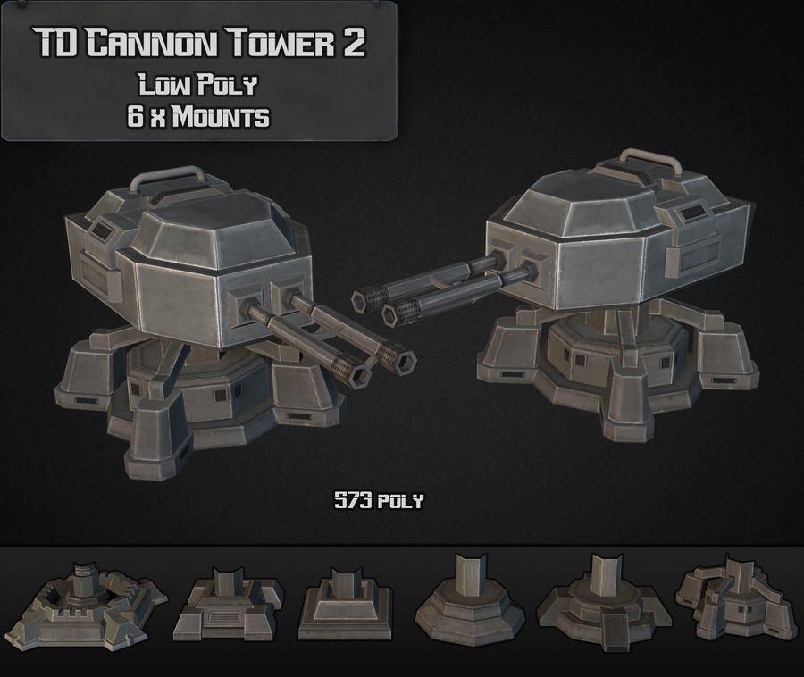 TD Cannon Tower 02 royalty-free modelo 3d - Preview no. 6