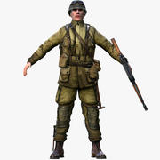 Soldat américain de la Seconde Guerre mondiale 3d model