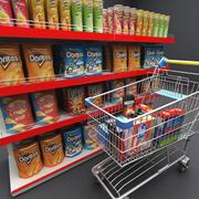 Supermercato degli elementi della drogheria 3d model