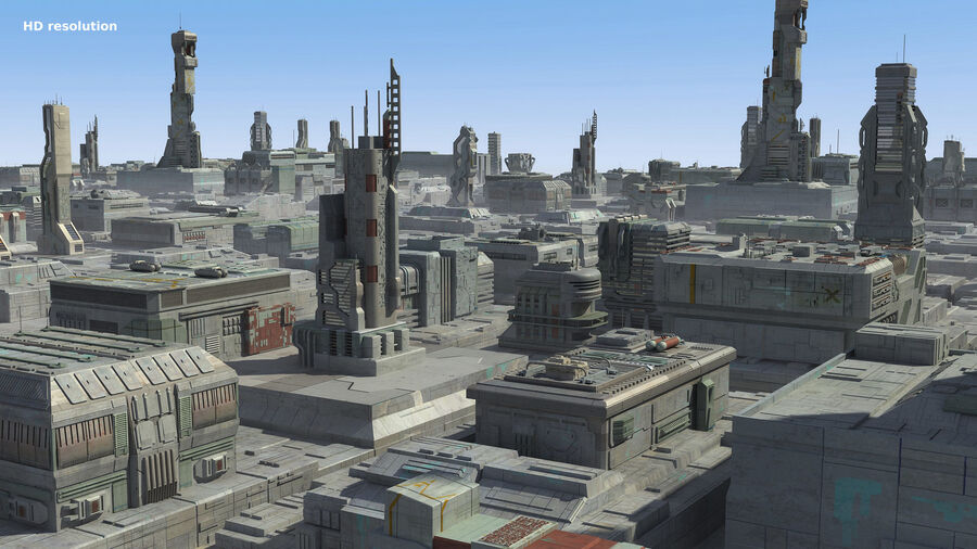 Sci-Fi City Cityscape royalty-free 3d model - Preview no. 13