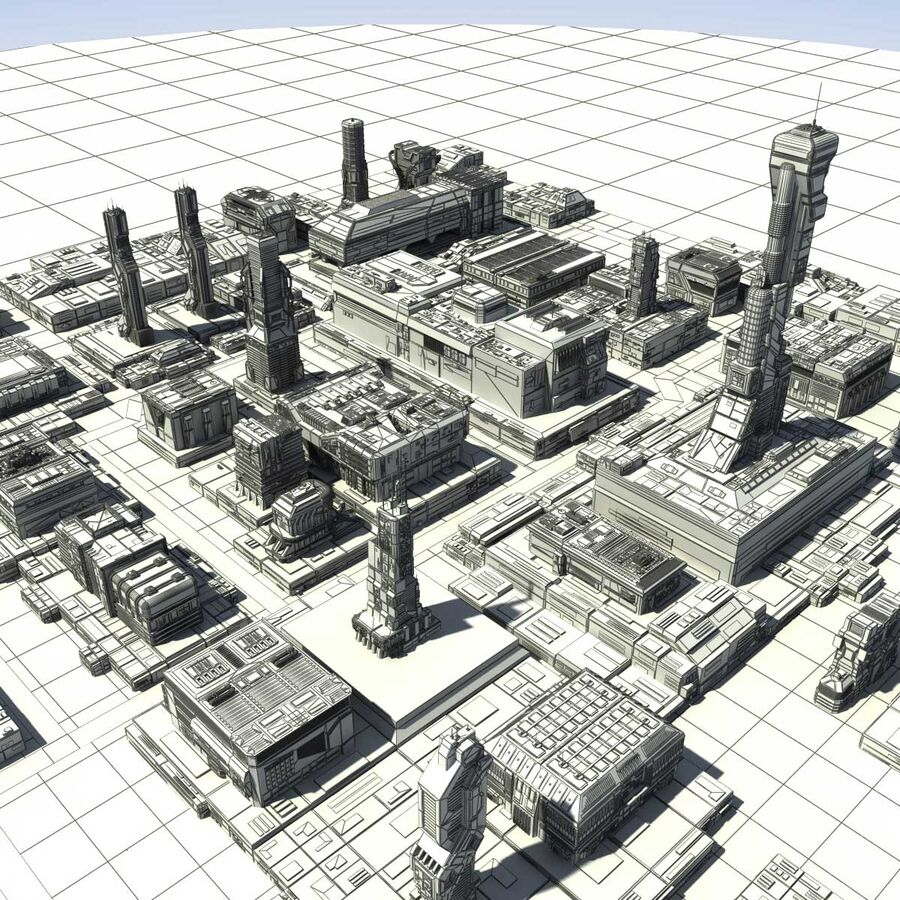 Sci-Fi City Cityscape royalty-free 3d model - Preview no. 27