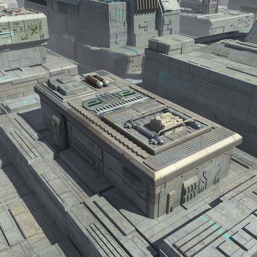 Sci-Fi City Cityscape royalty-free 3d model - Preview no. 11