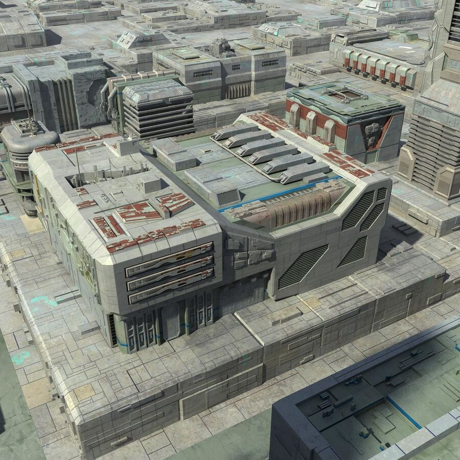 Sci-Fi City Cityscape royalty-free 3d model - Preview no. 7