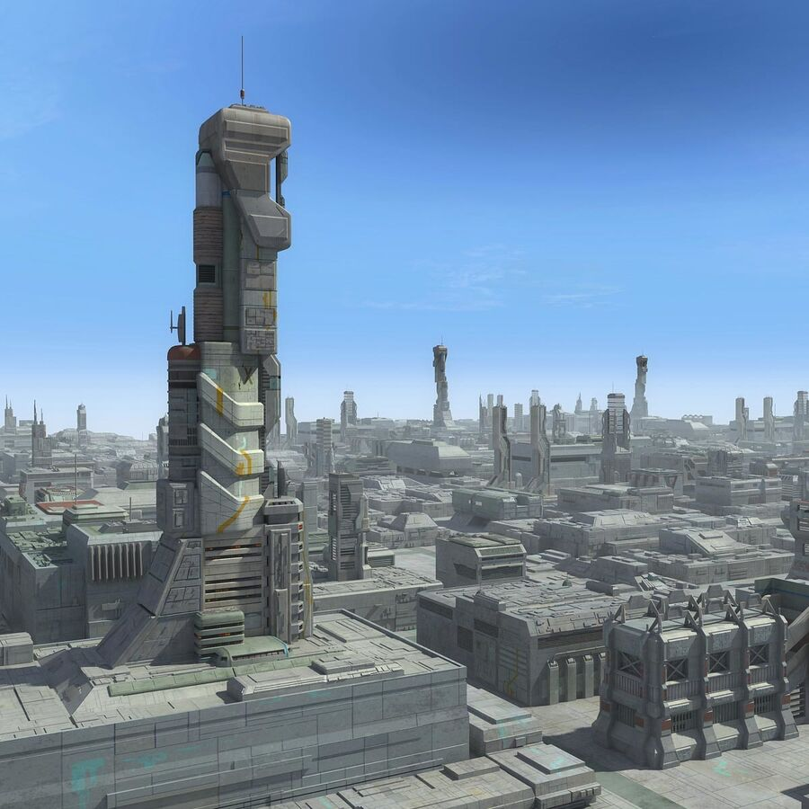 Sci-Fi City Cityscape royalty-free 3d model - Preview no. 1