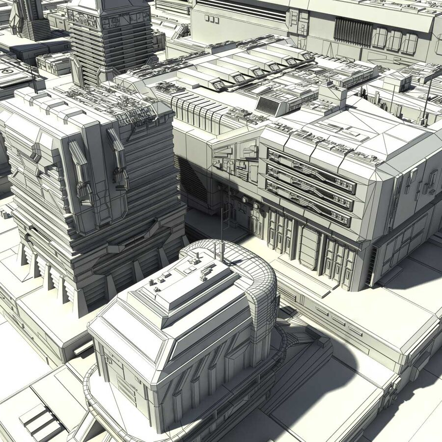 Sci-Fi City Cityscape royalty-free 3d model - Preview no. 28