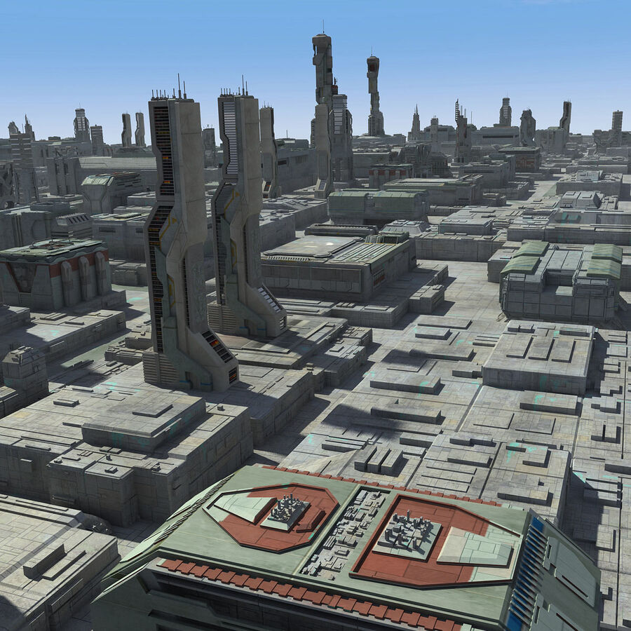 Sci-Fi City Cityscape royalty-free 3d model - Preview no. 4